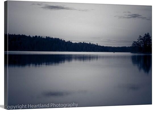 Nature Canvas Wrap, Boundary Waters, Black and White, Lake Photo Canvas, Lake Landscape, Minnesota, Midwest Photography, Fine Art Prints