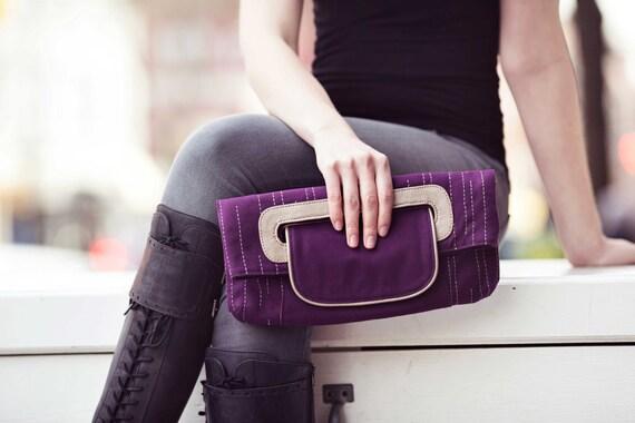 vegan purse | purple clutch purse | organic cotton bag | eco friendly bag | foldover bag | wedding handbag | organic cotton & vegan leather