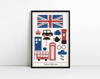 Great Britain Print, Minimalist Poster, Patriotic, Anglophile