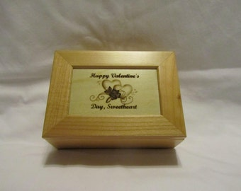 Personalized Maple Wooden Keepsake Box - Valentine's Day