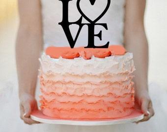 Love  Wedding Cake topper Monogram cake topper Personalized Cake topper Acrylic Cake Topper