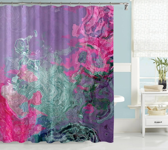 abstract shower curtain contemporary bathroom decor pink