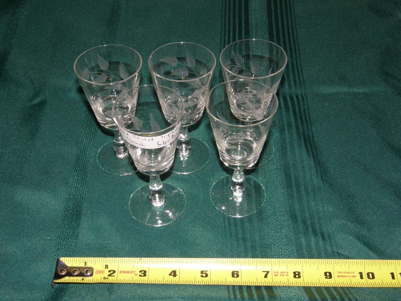5 Vintage Etched Glass Liquor Stemware