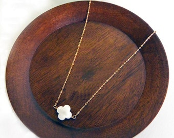 Mother of Pearl Quatrefoil Necklace with Gold Filled Ball Chain, Clover Necklace, Flower Necklace, (No Ordinary Love Handmade)