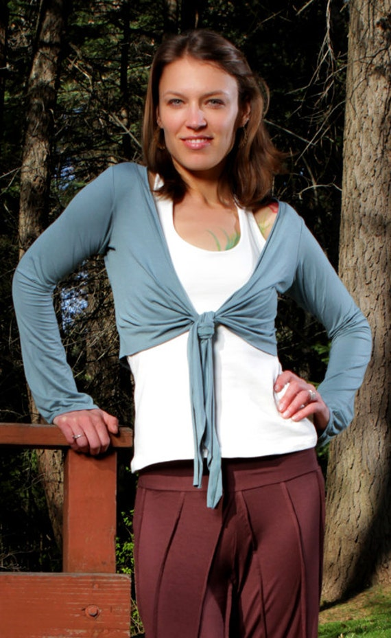 Spring Sale! Long Sleeve Ballet Mini Jacket in Ocean with Tie in Front for Womens After Yoga Wear