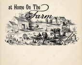 Instant Download - Home on the FARM - Farmhouse Animals Scene - Cow Pig Sheep - Fabric Transfer Printable - Digital Graphics - clipart image