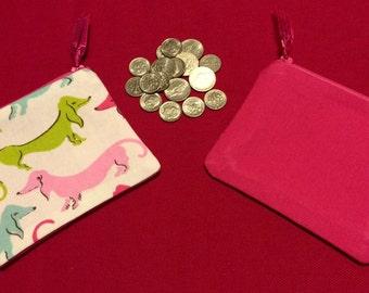 Pink Dachshund Print Coin Purse