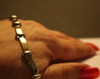 Vintage ~Link Bracelet ~ Modernist Link Bracelet  ~ Sterling ~ Silver ~ Classic ~ Rectangular Link ~ Two Tone Color