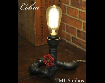 Industrial Plumbing Pipe Edison Light Fixture Desk Lamp - Steampunk