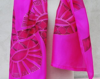 Electric Pink silk scarf, silk scarf, hand painted silk scarf, pink scarf, electric pink, geometric scarf, Christmas gifts, gifts for her