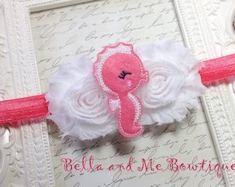 Shabby Seahorse Headband - Coral Headband - Girls Headband - Newborn Headband - Flower Headband