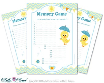 Boy Duck Memory Game For Baby Shower Printable Card For Baby Duck Shower  DIY Blue Yellow
