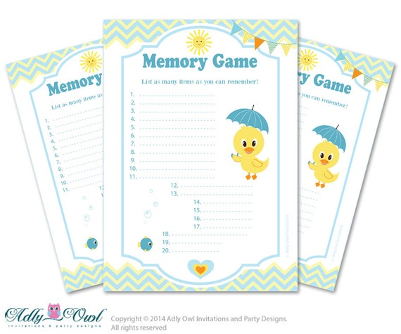 duck memory game for baby shower printable card for baby duck shower