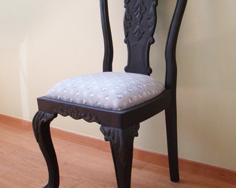 French Provincial Side Chair, carved back, grey floral upholstery, upcycled furniture