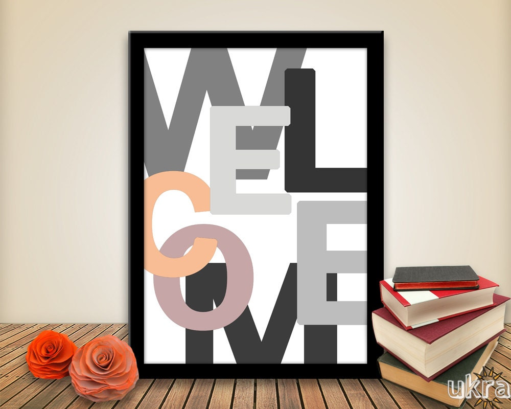 Welcome Wall Decor welcome printable:welcome typography printwelcome