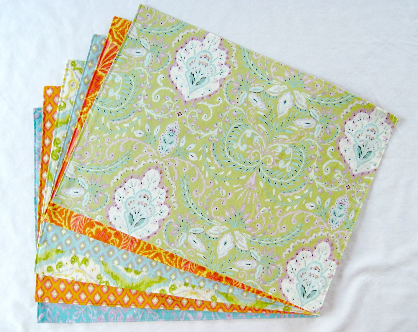 Large cloth placemats set of 6 green orange blue by for Oversized placemats