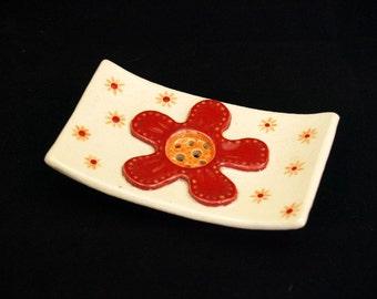 """Square ceramic SOAP dish """"Flower"""""""