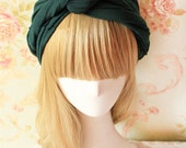 Olive Green Twist  Front  Cotton Headband, Dark green Headwrap,  BOHO Chic Style Hairband,  Fashion headband for Women and grils