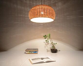 Bamboo basket lamp etsy large bamboo and wood basket pendant lamp ceiling lamp hanging lamp lamp set aloadofball Image collections