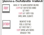 Custom Bachelorette /Girls weekend / Bachelor party agenda. Digital download. Cheers bitches.