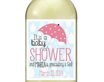 Baby Shower Wine Bottle Labels Baby Shower Rain Baby Girl