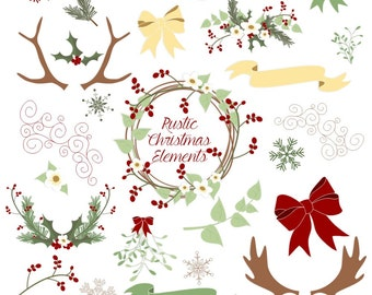 80% OFF SALE Christmas Clipart, with Antlers, Holly, Pine, Mistletoe, Berries, Holiday Flowers, Banners and Bows, Vector