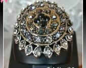 Ring, Turkish Ottoman Style Jewelry, Authentic Gift, Modern, Handmade, Isinglass, Marcasite & Zirconia Stones, US Size 6.5, New, Lead Free
