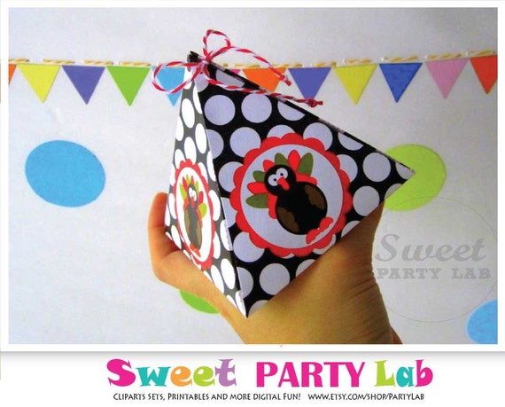 10 Last Minute Thanksgiving Crafts: I know you may not have time lately to plan your kid's little gifts or party favors for Thanksgiving but don't worry help is on the way! here you have some last minute ideas for Thanksgiving by Mariapalito www.partymazing.com Printable Thanksgiving Triangle Gift Box, Printable Party favor Boxes, Thanksgiving Turkey Party Favor Box, Printable Box D096