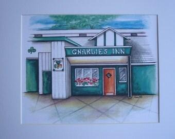 Charlie's Inn, by Karen Paciullo, 2014, Throggs Neck, Bronx, NY,  ready to frame art print