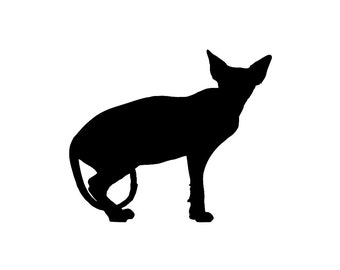 Sphynx Cat v1 Silhouette Custom Die Cut Vinyl Decal Sticker - Choose your Color and Size