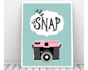 Oh Snap, Instant Digital Print, Camera Art, Retro Camera, Vintage Camera, Photography, Instant Download, Pink Camerahotogra