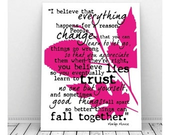 Marilyn Monroe Quote Print, Instant Download, Marilyn Monroe Quote Poster, Marilyn Monroe Art, Famous Quote Art, Life Quote, Inspirational