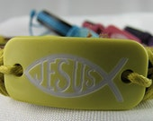 Handmade Hemp and Leather Bracelet Thats Fully Adjustable - Jesus Christian Yellow ICHTHUS Fish Bracelet