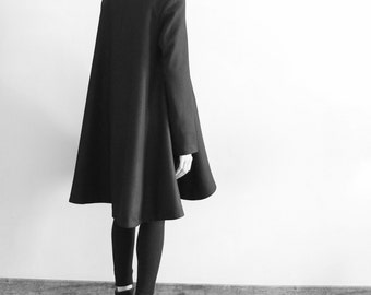 Black wool poncho cape coat