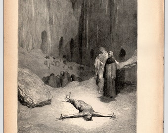 1885, Antique Print, Gustave Dore, Dante's Inferno, That Pierced Spirit, Original Print