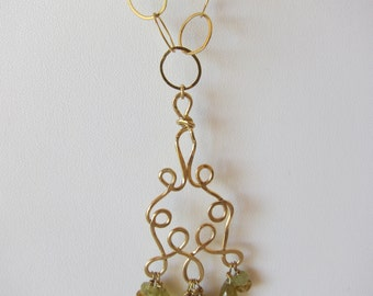 Grass Garnet Briolettes Handmade Twisted Wire Necklace with 14K Gold Filled Chain