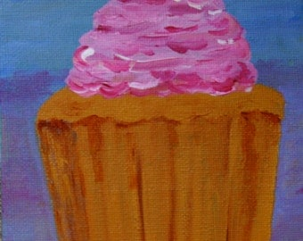 Cup Cake With Pink Icing, Original Acrylic Painting, Food Painting, Canvas Board, Ready to Frame, 7 x 5 Inches, Cake Art, Small Painting