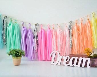Tissue Paper Tassel Garland - pastel rainbow party