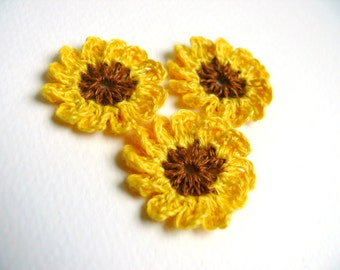 Crochet flowers yellow applique,mini crochet motifs,12 Petal embellishments,set of 6 crochet applique,linen Sunflower,Scrapbooking, ornament
