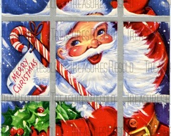 Retro Santa Claus Merry Christmas Card #318 Digital Download