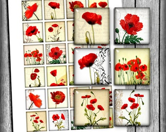 Red Poppies Square Images 1x1 inch 1.5x1.5 inch 16x16mm 15x15mm Printable images for Jewelry Making Digital Collage Sheet