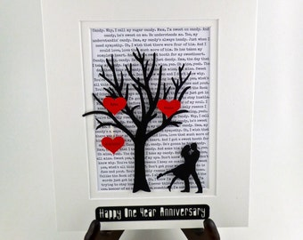 Personalized First Year Anniversary Gift Tree - Long Distance Relationship Gift -  1st Anniversary -One Year- 3D Paper Art