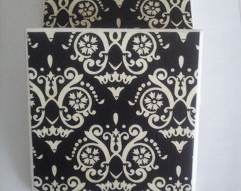 Black and Ivory Ceramic Tile Coasters