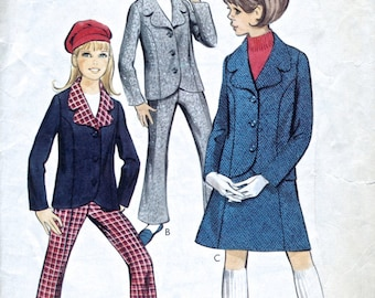 """1960's Girl's Jacket, Trousers And Skirt - Vintage Sewing Pattern - Style 1969 - Breast 28.5"""""""
