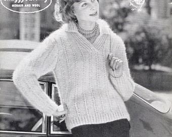 1950's Vintage Pattern - Original Knitting Pattern - Robin 914 - Lady's Sweater In Shaggy Darling Mohair