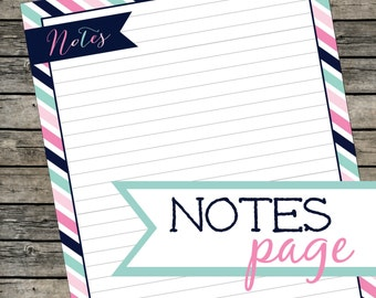 Printable Notes Page. Stationery. Instant Download PDF.