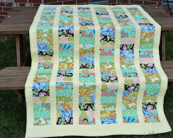 Large throw/small twin quilt with Amy Butler fabrics