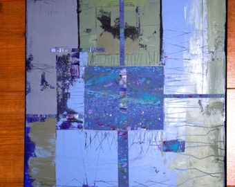 Dutch summer. Abstract acrylic painting on linen canvas stretched on a wood frame with paper collage elements.