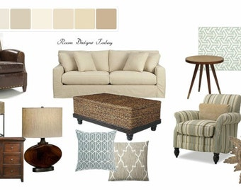 Mood board contemporary living room virtual by for Modern living room mood board