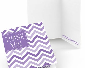 Chevron Purple Thank You Cards - Baby Shower Thank You Cards - Birthday Thank You's - Bridal Shower Thank You - Set of 8 Folding Note Cards